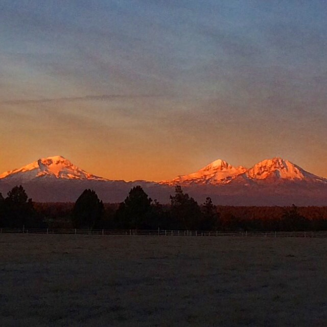 Three Sisters Mountains at sunrise