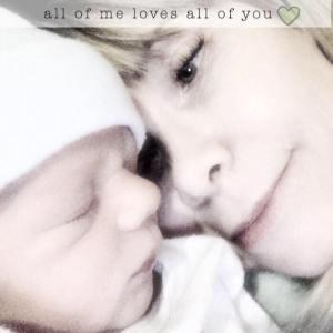 Me with new grandson, Kade Robert 12-14-14